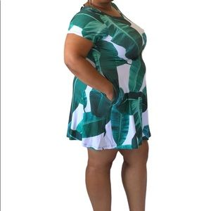 Plus Size White and Green Palm Leaf Printed Dress